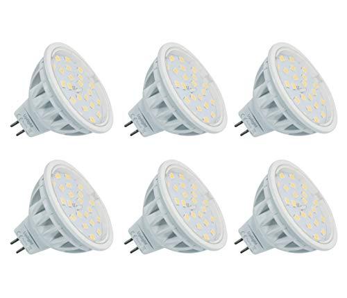 MR16 Lampadine LED Gu5.3 Faretti Bianco Naturale 4000K(La seconda generazione) Equivalente 60W Lampadina AC/DC 12V 6 Pezzi.