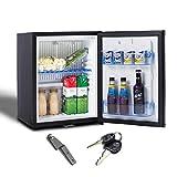 Smad 12V/ 220V Mini-Réfrigérateur,Silencieux,Frigo Compact à porte Unique avec Serrure pour Hôtel, Motel, Résidence, Camping-Car 30L Noir