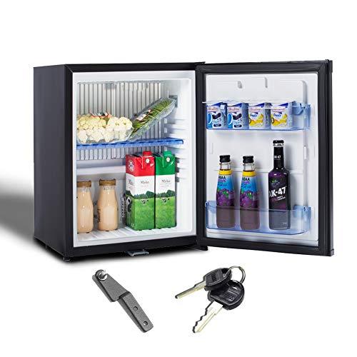 Smad Kühlschrank Mini Absorption Kühlschrank mit Schloss, lautlos, 12V / 220V, für Camper Office Camera Hotel Bar, 30L, schwarz