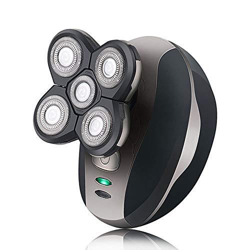 Elektrisch scheerapparaat, tondeuse met 5 Floating Head USB-oplaadbare waterdichte shaver, geschikt voor outdoor-reizen en thuis grijs