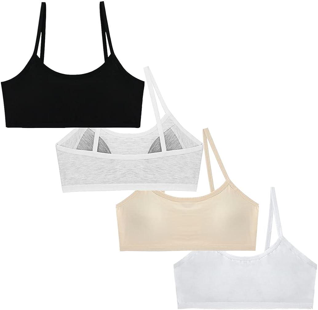 Herepai Teen Girls' Training Bra Seamless Cotton Cami Wireless Bras Elastic Thin Shoulder Straps 10-14T