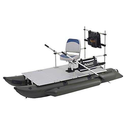 AQUOS 2021 New Backpack Series FM230 7.5 ft Inflatable Fishing Pontoon Boat with Guard Bar, Folding Seat and Haswing 12V 55LBS Bow Mount Hand Control Trolling Motor for One Person Fishing