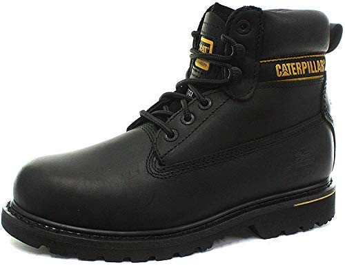 Caterpillar Holton - Botas de seguridad de nobuk, color negro, talla 7 UK