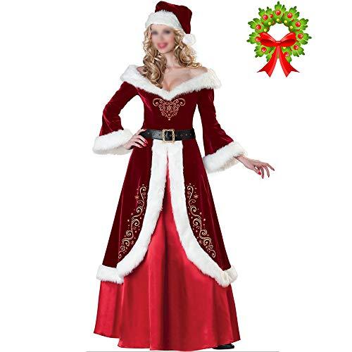Mannen Vrouwen Kostuum Party Kerst pak Outfit Pluche Uniform Set Volwassen Lange Mouw Jurk Paar Santa