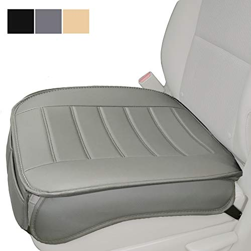Car Seat Cover, Edge Wrapping Car Front Seat Cover Pad Mat for Auto Supplies Office Chair with PU Leather (Gray)