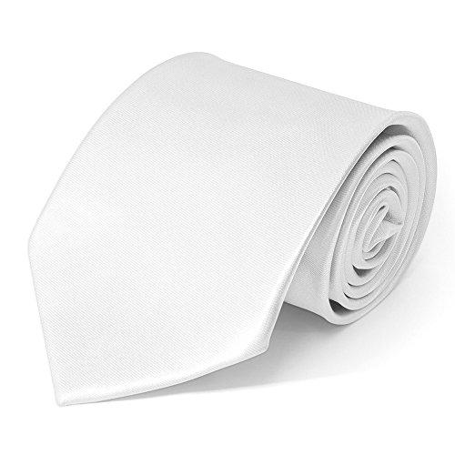 SoulCats Klassische Krawatte inkl. Anleitung breit viele Farben Satin Schlips Herren, Farbe:weiß