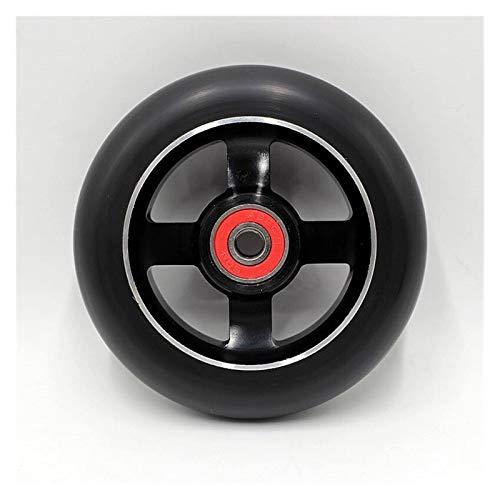 Ruedas Patinete 1 unids truco scooter 100mm ruedas con alto elástico resistente al desgaste de la PU con cojinetes de núcleo de aleación de ruedas de esquí de rodillos 1 ( Color : Black 100mm 4G )