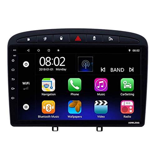 WY-CAR Reproductor Multimedia Estéreo para Coche con Pantalla Táctil De 9 Pulgadas para Peugeot 408 2010-2016, Navegación GPS/FM/Bluetooth/Controles del Volante/Enlace Espejo/Cámara De Visión Trasera