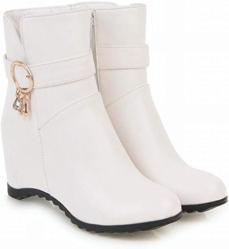 Fuxitoggo Chaussures pour Femmes - Bottes Plates d'hiver pour Les Les dames Bottes Chaudes Martin Bottes Courtes augHommestées Chaussures pour Femmes Grandes Tailles 36-43 (Couleuré   Blanc, Taille   38)