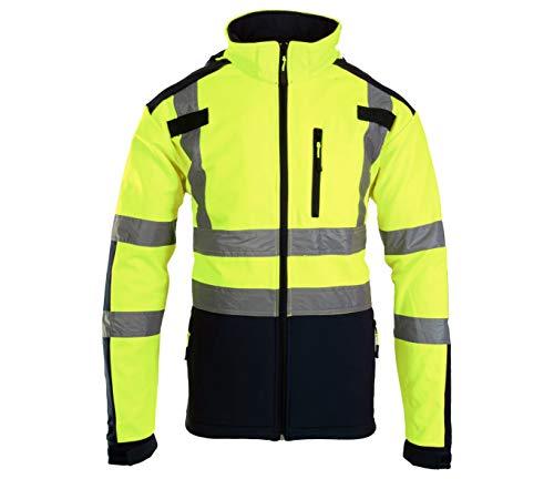Brixton Flash reflektierende Softshell Jacke Warnschutz Warnjacke Reflektierend Schutzjacke gelb 300 g/m2 (M)