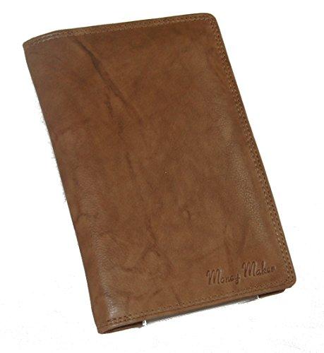 Große Herren Leder Brieftasche Ausweismappe verschiedene Farben -- präsentiert von RabamtaGO® -- (tan)