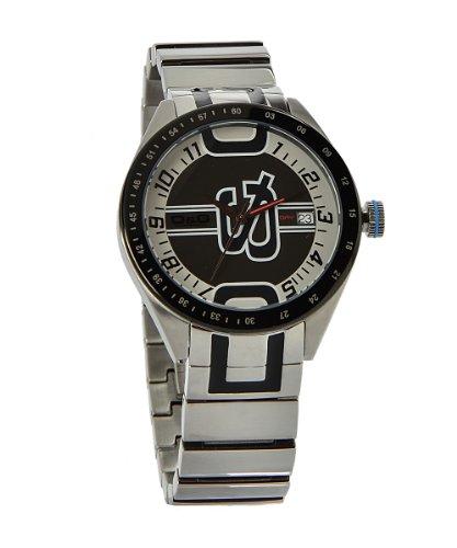 D&G Dolce&Gabbana D&G Shuffled - Reloj analógico unisex de cuarzo con correa de acero inoxidable plateada - sumergible a 50 metros