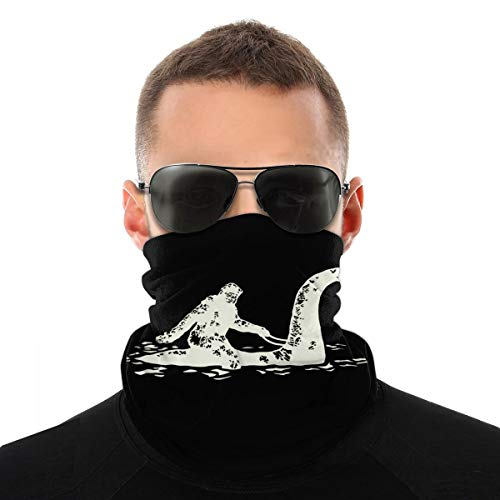Bigfoot Riding The Loch Ness Monster Neck Gaiter Summer Cooling Face Mask Bandana Reusable,Seamless Face Cover Washable Headband Sports Scarf Tube Sun UV Dust Protection Balaclava for Men Women White
