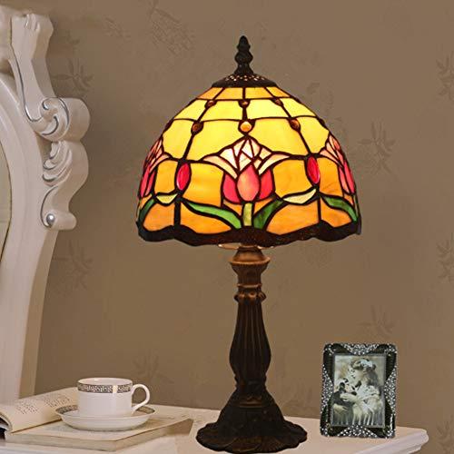 GUOGEGE Lampada da Tavolo Decorativa Classica in Vetro colorato Tiffany Elegante Lampada da Comodino retròLampada da Tavolo Soggiorno Camera da Letto Lampada da Comodino in Stile Barocco