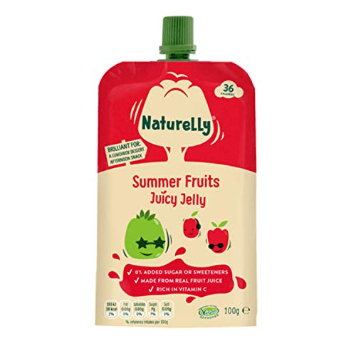 Naturelly Juicy Fruit Jelly Squeeze Pouches - Healthy Snacks for Kids - Summer Fruits Apple Strawberry - Pack of 12 x 100g - Vegan Low Calorie Juicy Jelly
