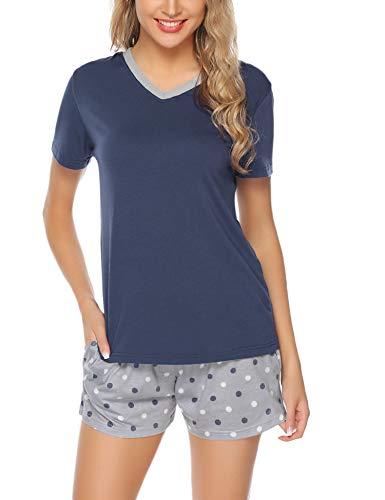 Aibrou Damen Pyjama Schlafanzug Baumwolle Kurz Streifen Nachtwäsche Nachthemd Hausanzug Set Kurzarm Rundhals-Ausschnitt für Sommer Marine M