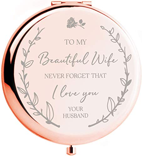 "Anniversary for Her -""To my Beautiful Wife"" Compact Mirror I Wedding Anniversary Gif ts for Her I Wedding Anniversary for Wife I Christmas/Birthday for Wife I Romantic for Her"