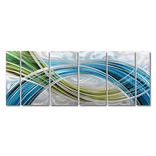"Yihui Arts Abstract Color Warp Metal Wall Art, Large Scale Decor Abstract Blue-Green Swirls, 3D Wall Art for Modern and Contemporary Decor, 6-Panels Measure 24""x 65"", Great for Indoors and Outdoors"