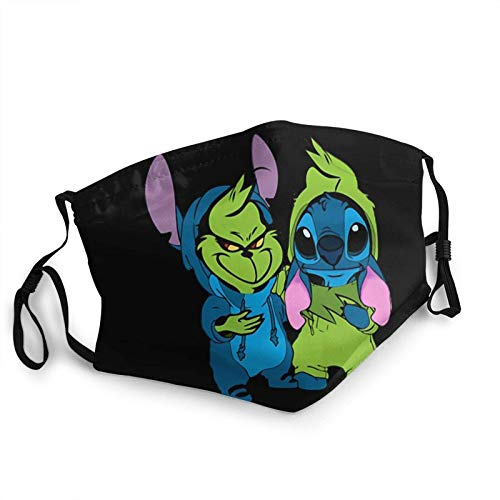 Adult Best Friends Baby Grinch and Stitch Face Mask Gauze Mask Anti UV Washable for Pollution