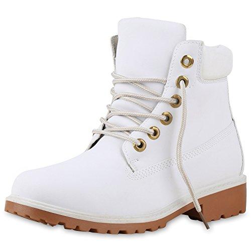 SCARPE VITA Damen Stiefeletten Outdoor Worker Boots Schnürstiefel 165582 Weiss Prints 37