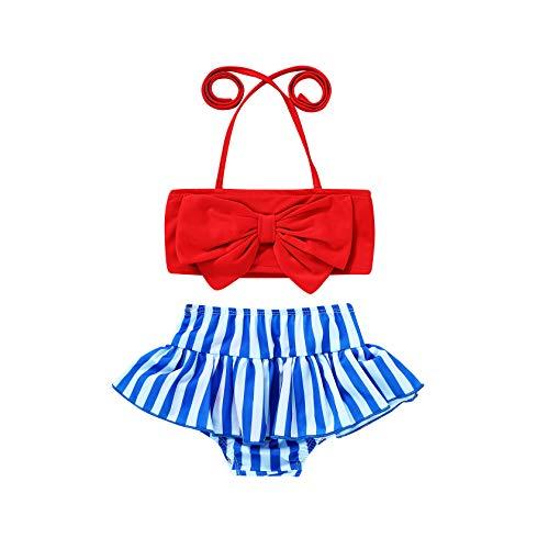 Toddler Baby Girl Swimwear Bowknot Stripe Swimsuit Bathing Suit 2Pcs Bikini Set Outfits Summer (12-18 Months, Red)