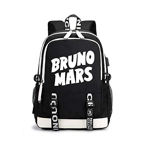 Bruno Mars Freizeitrucksack Wilde Paar Rucksack Große Kapazität Studententasche Unisex (Color : Black05, Size : 30 X 15 X 43cm)