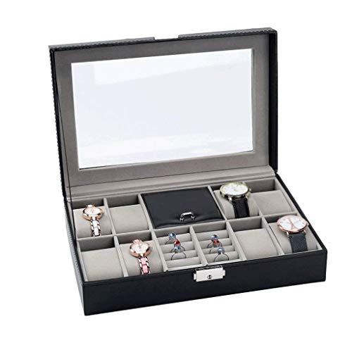 XYZMDJ Reloj Caja- Hombres y Mujeres 8 Ranura de almacenaje de la joyería de visualización, Anillos, Pulseras, Collares