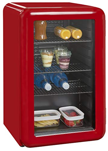 Exquisit Mini-Kühlschrank RKB 60-14 A+GRot | Retrostyle | 70 Liter | Glastür | 3 Gitterablagen | Rot