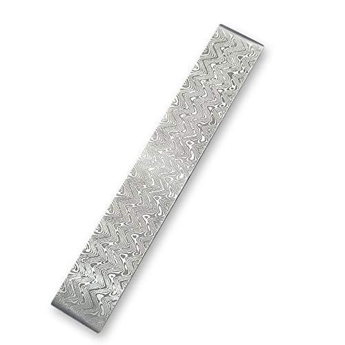 sazoley Damaststahl Rohling, für benutzerdefinierte DIY Messerherstellung, Wellenmuster, Damaskus Stahl DIY Cutter Herstellung von Materialien, wurde Wärmebehandlung