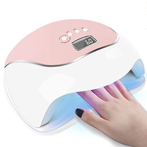 120W UV LED Nagellampe, Schnellerer Nageltrockner LED-Nagellicht für alle Gelpolituren mit 4 Timern, Professionelles Nail Art Zubehör, Fingernagel und Zehennagel Auto Sensor Machine