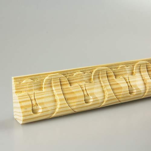Schnitzleiste Prägeleiste Profilleiste Zierleiste Abschlussleiste Bastelleiste aus geschnitztem Kiefer-Massivholz 1500 x 35 x 20 mm