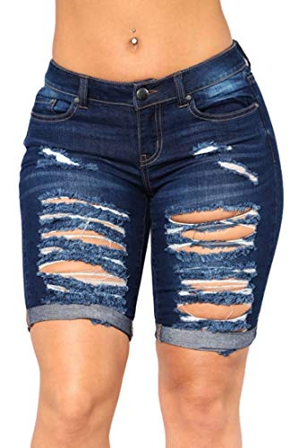 FEESON Women's Summer Turn Up Cuffs Above-Knee Length Destroyed Ribbed Jeans Shorts Dark Blue