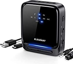 ELEGIANT Bluetooth 5.0 Transmitter Receiver Wireless Audio Adapter Pair 2 Headphones at Once Built-in Microphone LED Indicator, Optical TOSLINK 3.5mm AUX RCA for TV Home Stereo System