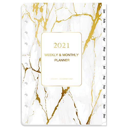 2021 Planner Refills - 2021 Weekly & Monthly Planner Refill, Jan 2021 - Dec 2021, 5-1/2' x 8-1/2', 7-Hole Punched, Monthly Tabs