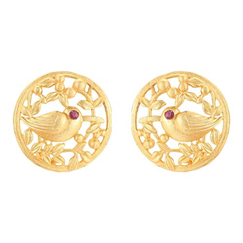 Efulgenz Indian Jewelry Matte Finish Love Bird Big Round Stud Earrings Set for Women gold