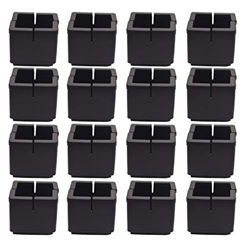 Silicone Furniture Chair Leg Caps Pads Floor Protectors with Felt (Square L: 1-1/4' W: 1-1/4', Black)