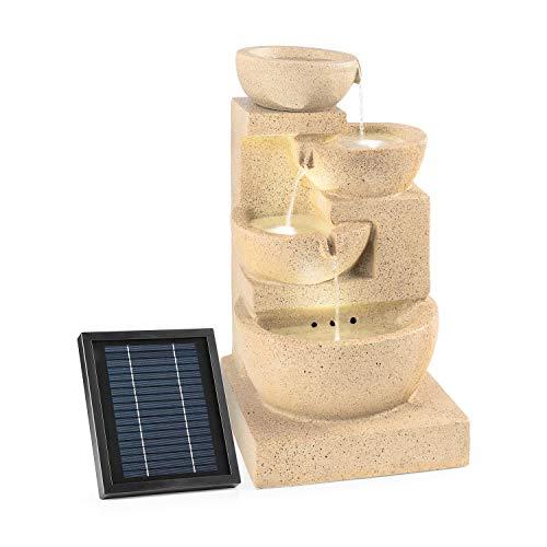 blumfeldt Korinth Fontana Decorativa da Giardino Funzionamento a LED Solare 3 Watt Posizionamento Libero 4 recipienti d'Acqua con cascate Illuminazione LED Ottica Pietra Arenaria