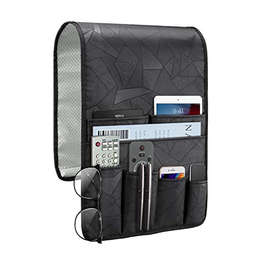 SITHON Sofa Armrest Organizer Remote Holder – [Non Slip] Stain Resistant Couch Recliner Armchair Caddy with 7 Pockets for iPad, Magazine, Books, TV Remote Control, Cell Phone, Glasses, Black Geometric