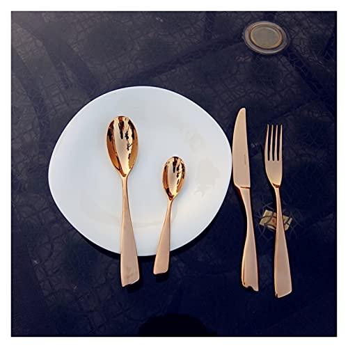 4 unids Set de vajilla de acero inoxidable Set Rose Oro Cocina Cubiertos Cuchillos Cuchillos Tenedor Cuchara Cucharada Cucharada de restaurante Vajilla Regalo (Color : 4pcs no box)