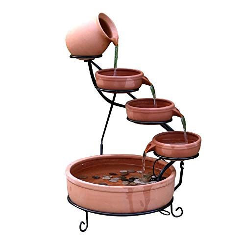 ASC Terracotta Sundance Ceramic Solar Water Fountain (Yellow with Battery and LED)