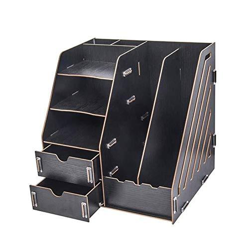 Dokumentenmagazin-Aufbewahrungsbox, Desktop-Endbearbeitung mit Schubladenablage Buchsortiermaschine Aufbewahrungsbox mit mehreren Fächern Notebook-Hefter Taschenrechner Stiftablage (Color : Black)