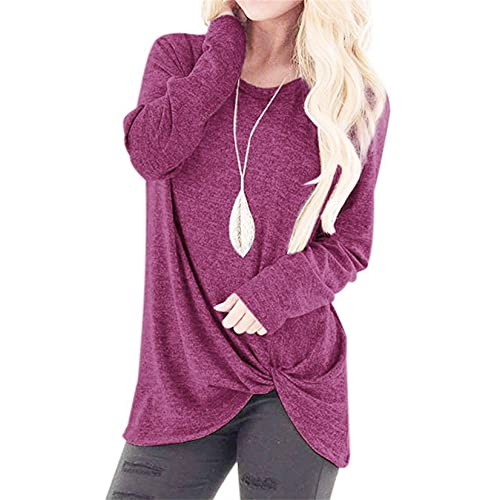 OutTop Twist Knot Tunics Blouses for Women Comfy Casual Long Sleeve Solid Tshirts Crewneck Tops Blouses (Hot Pink, XXL)