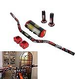YSMOTO - Juego de manillar para motocicleta, manillar de 28 mm + puños + soporte de barra elevadora + almohadillas de barra, manillar con diseño impreso para motocicleta Motocross Honda