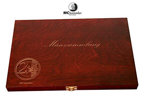 MC.Sammler Holz-Münzenkassette Münzkassette für 40 STK 2 Euro Münzen in Kapseln (mit 40 Münzkapseln 26mm)