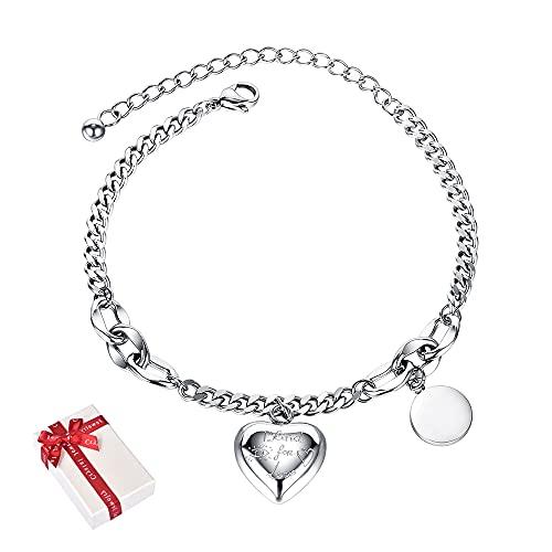 Ceqiny Pulsera de corazón con inicial para mujer, diseño de círculo, pulsera con colgante de corazón y colgante de cadena para pies, pulsera ajustable para mujer, color plateado