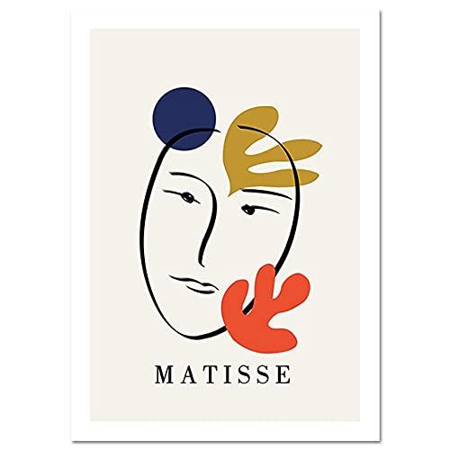 Póster nórdico de rostro humano abstracto colorido de Matisse minimalista y cuadro de arte de pared impreso sin marco pintura en lienzo A3 60x80cm
