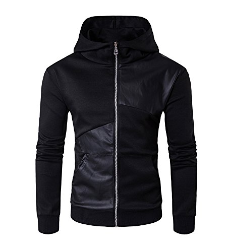 Homme Sweat À Capuche Pull Over Hoodie Manches Longues Zipper Sweat-Shirt Uni Casual Vestes Noir M