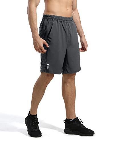 7 ZOll Athletic Running Shorts für Kurze Hosen Herren - Schnelltrocknende, leichte Turnhose für das Training im Freien beim Tennis und Basketball, Grau, Gr. L L Grau