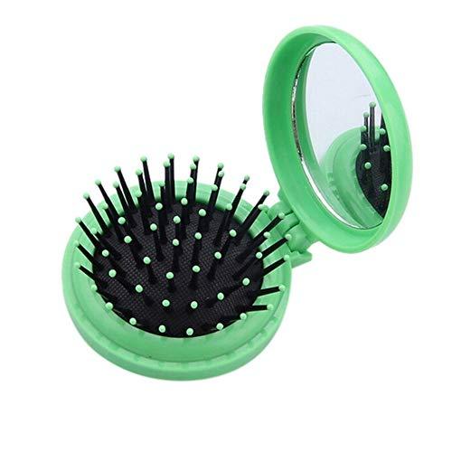 YUELANG Femme Round Portable Pocket Petite Taille Voyage Massage Pliante Peigne Fille Brosse À Cheveux avec Miroir Styling Outils 3 Couleurs (Color : Green)