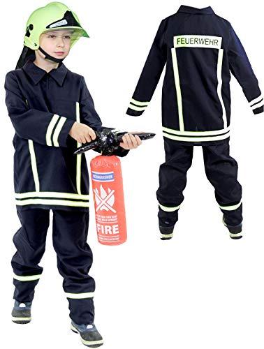 Foxxeo Feuerwehr Kostüm für Kinder – Verschiedene Größen von 92 bis 134 - Feuerwehrmann Kostüm für Jungen Fasching Karneval, Größe 92-98